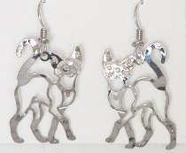 Siamese Earrings, Strutting Cat, Silver