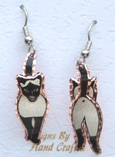 Siamese Earrings, Cat Coming And Going