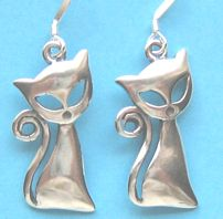 Cat Earrings, Sophisticated Cat, Sterling Silver
