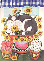 Cat Flag, Tuxedo Cat On Sunflowers