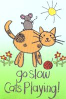 Cat Flag, Go Slow-Cats Playing, Mini