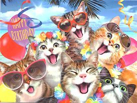Cat Birthday Card, Luau Cat Selfie