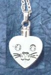 Cat Heart Face Memorial Pendant