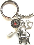 Cat Key Ring With Charms, Cat Walking