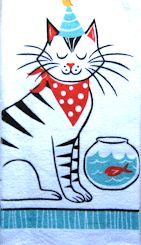 Cat Kitchen Towel, Striped Cat, Party