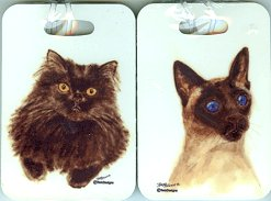 Cat Luggage Or Cat Carrier Tag, Black Cat Or Siamese Cat