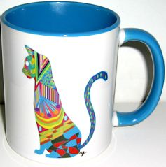 Cat Mug, Multi Colored Blue Cat