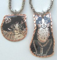 Cat Necklace, Black & White Tuxedo Cat