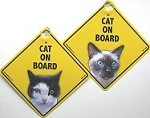 Cat On Board Sign, Tuxedo Or Siamese Cat
