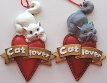 Cat Ornament, Cat Lover Heart, White Or Grey Cat