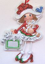Cat Ornament, Little Girl Cat Lover