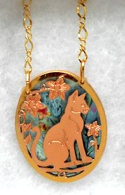 Cat Pendant And Chain, Three Dimensional, Sitting Cat And Flowers