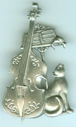 Cat Pin, Cat With Bass Instrument