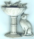 Cat Pin, Cat At Birdbath