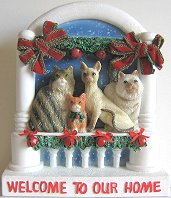 Christmas Cat Plaque, Welcome To Our Home