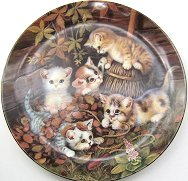 Collectible Cat Plate, Five Kittens And Broom