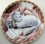 Collectible Cat Plate, Tabitha On Taffeta