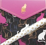 Pocket Notepad And Pen Set, Cat Silhouettes