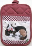 Cat Potholder, Cat And Flower Pots