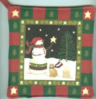 Christmas Cat Potholder, Snowman And Cat, Winter Nite