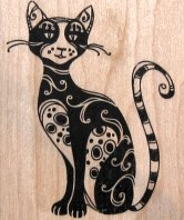 Collectible Cat Rubber Stamp, Sophisticated Cat