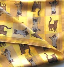 Cat Scarf, Gold Tone, Oblong