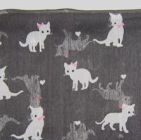 Sample, Cat Scarf, Grey Kittens, Pink Bows, Oblong