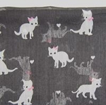 Cat Scarf, Grey Kittens, Pink Bows, Oblong