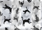 Cat Scarf, Cat Silhouettes, White, Oblong