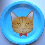 Cats Meow Cat Paper Plate, Brown Cat Dessert Plate