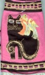 Laurel Burch Cat Socks, Black Cat With Parrots, Fuchsia