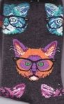 Cat Socks, Cats With Glasses, Charcoal Grey