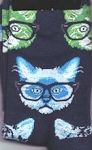 Cat Socks, Cats With Glasses, Navy Blue