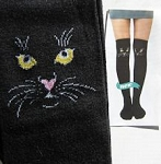 Cat Socks, Over The Knee, Black Cat