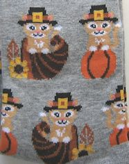 Thanksgiving Cat Socks, Grey
