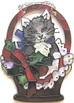 Cat Sun Catcher Or Cat Ornament, Christmas Kitten