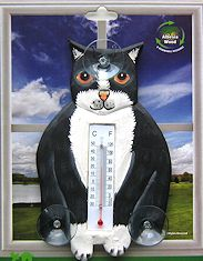 Cat Window Thermometer, Tuxedo Cat
