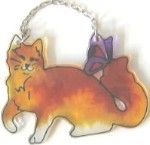 Cat With Butterfly Sun Catcher,  Orange Cat Ornament