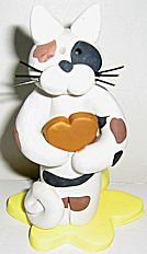 Cat With Heart, Calico Cat Flower Vase