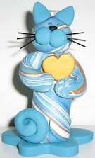 Cat With Heart, Blue Multicolored Flower Vase