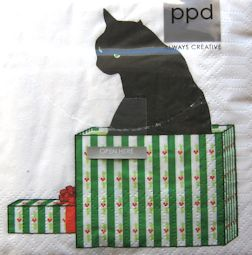 Christmas Cat Paper Napkins, Black Cat Gift