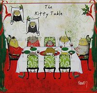 Christmas Cat Paper Napkins, Kitty Table