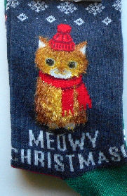 Cat Christmas Slipper Socks, Meowy Christmas