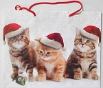 Christmas Gift Bag, Three Kittens With Santa Hats