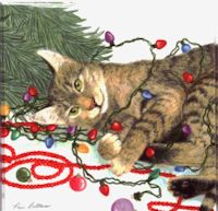 Christmas Gift Enclosure Cards, Decorating Cat
