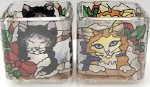 Christmas Kittens Tealight Holder And Candle