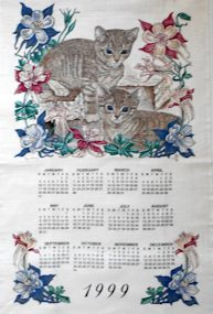 Collectible Calendar Towel, Two Cats, 1999
