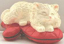 Collectible Christmas Cat Ornament, Clip On