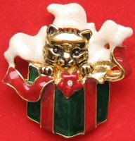 Collectible Cat Christmas Pin, Cat In Gift Box