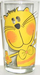Collectible Cat Drinking Glass, Yellow Cat